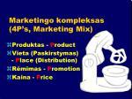 marketingo kompleksas 4p s marketing mix