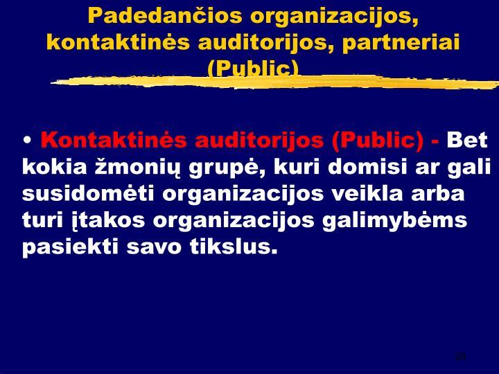 Padedančios organizacijos, kontaktinės auditorijos, partneriai (Public)