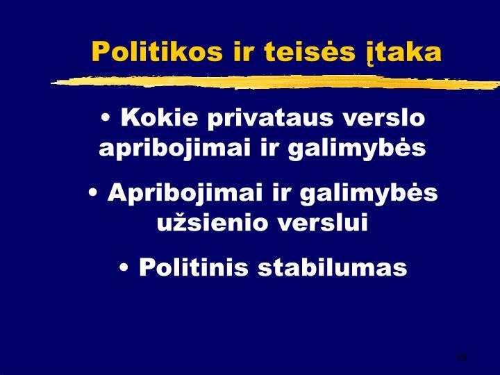 Politikos ir teisės įtaka