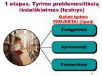1 etapas tyrimo problemos tiksl i siai kinimas t sinys