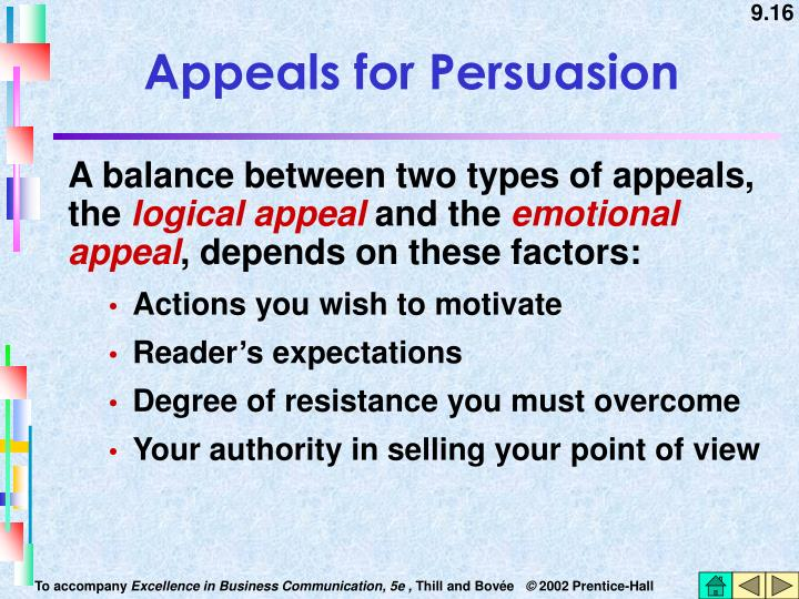 Appeals for Persuasion