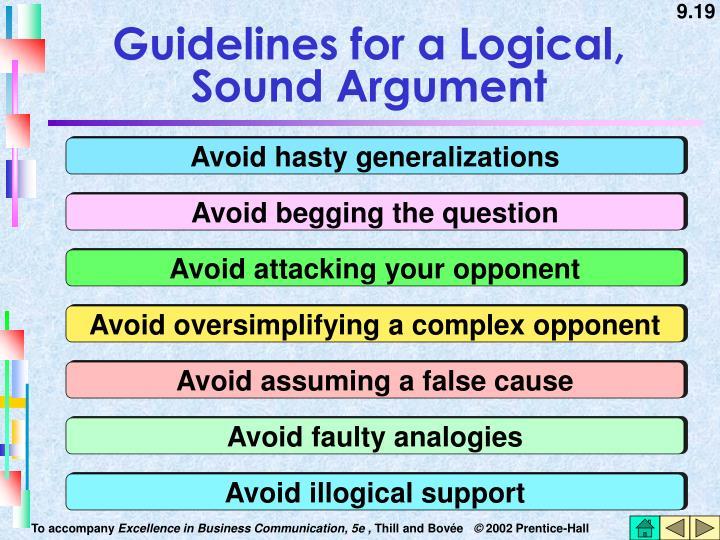 Guidelines for a Logical, Sound Argument