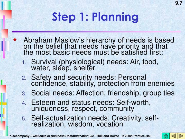 Step 1: Planning