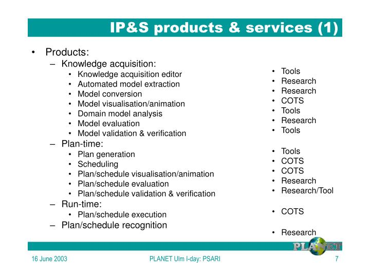 IP&S products & services (1)