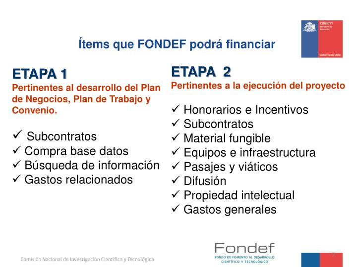 Ítems que FONDEF podrá financiar