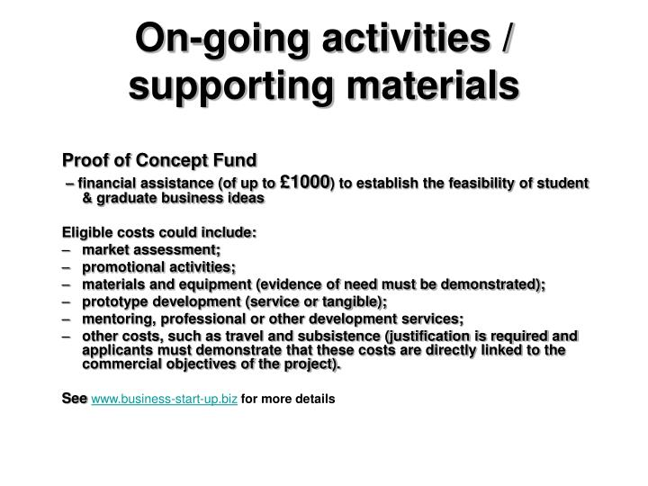 On-going activities / supporting materials