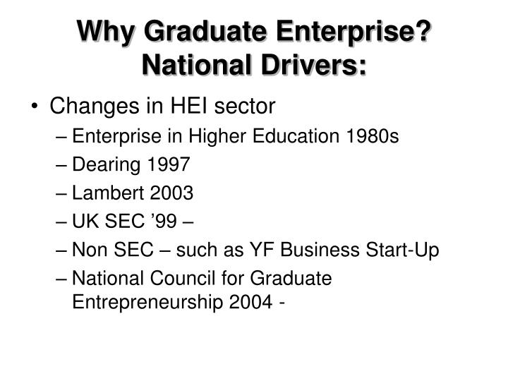 Why Graduate Enterprise? National Drivers: