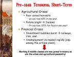 pre 1848 tensions short term