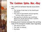 the coalition splits mar may