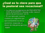 cual es la clave para que la pastoral sea vocacional