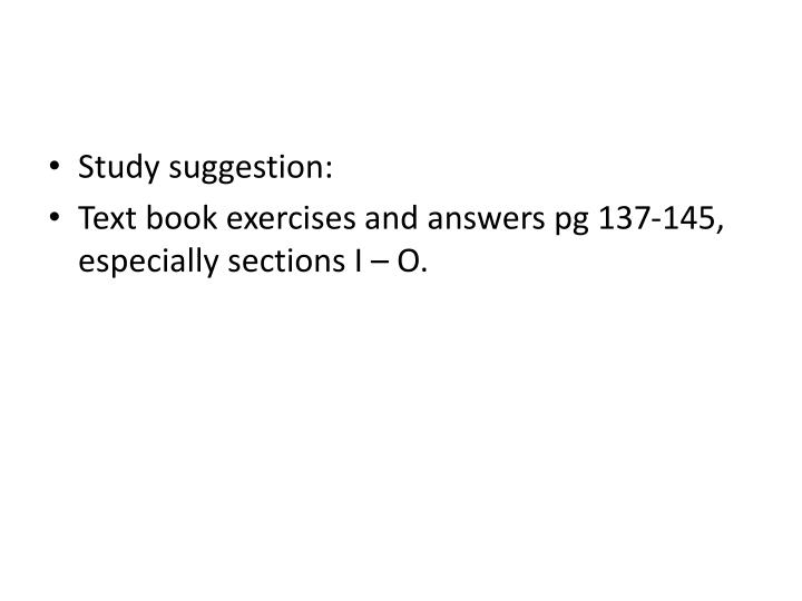 Study suggestion: