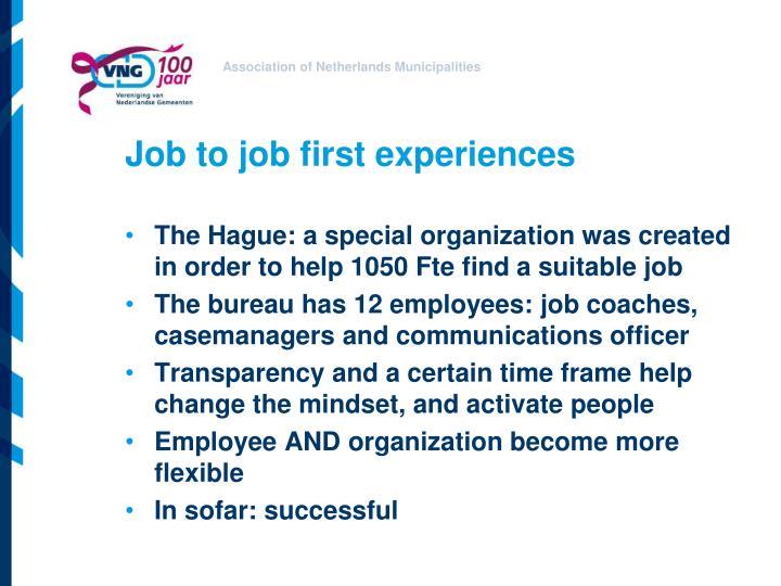 Job to job first experiences
