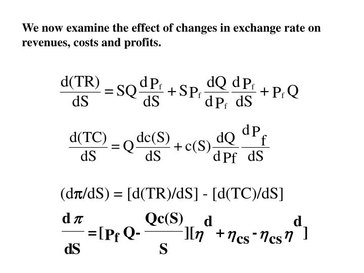 We now examine the effect of changes in exchange rate on revenues, costs and profits.