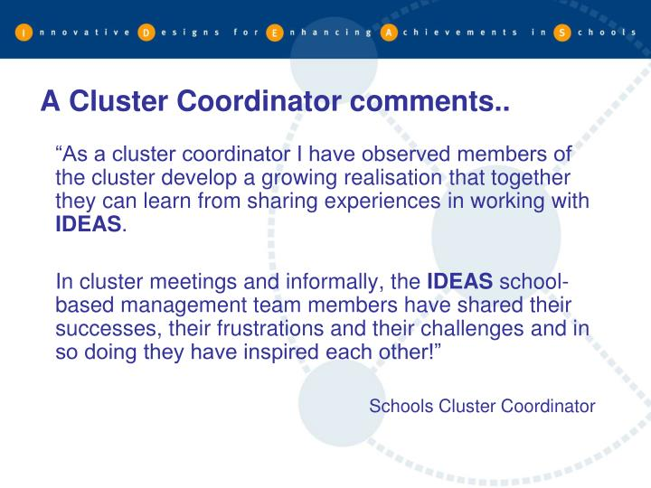 A Cluster Coordinator comments..