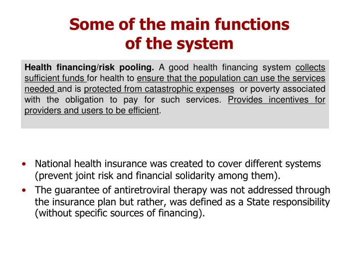 Some of the main functions                           of the system