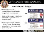 annual card changes