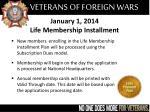 january 1 2014 life membership installment