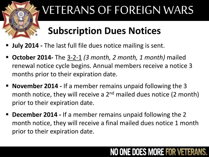 Subscription Dues Notices