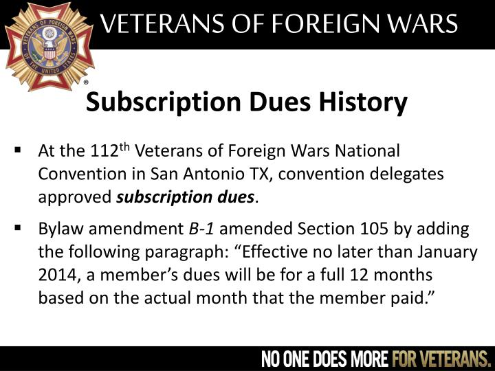 Subscription dues history