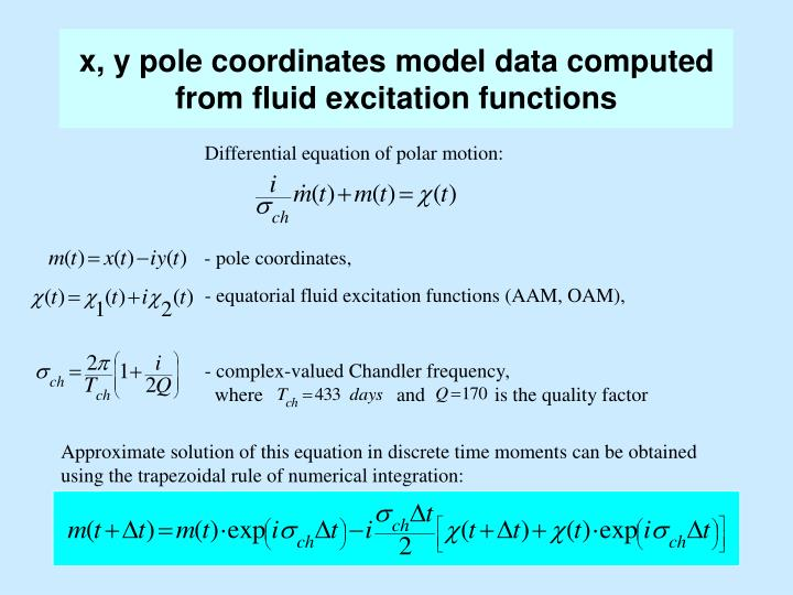x, y pole coordinates model data computed from fluid excitation functions
