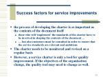 success factors for service improvements