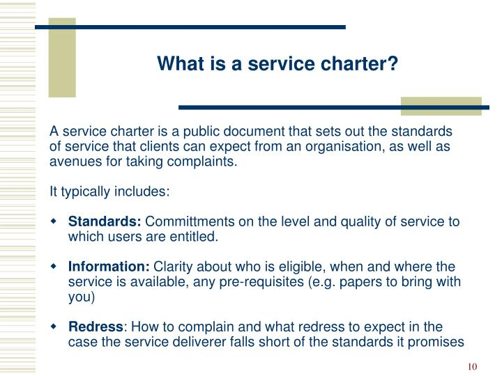 What is a service charter?