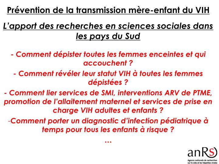 Prévention de la transmission mère-enfant du VIH