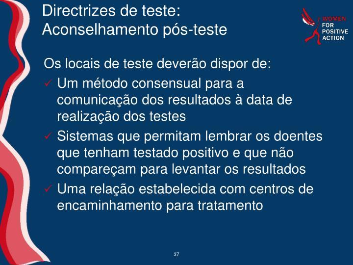 Directrizes de teste: Aconselhamento pós-teste