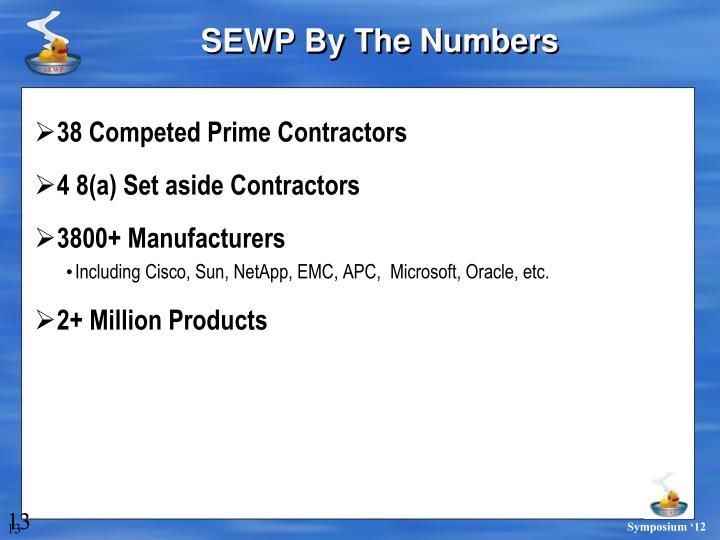 SEWP By The Numbers