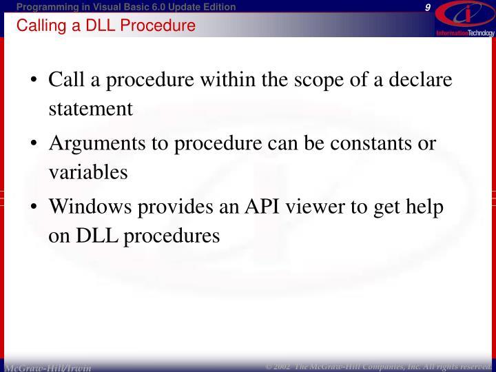 Calling a DLL Procedure