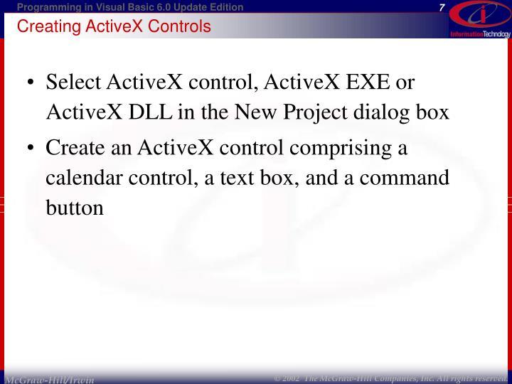 Creating ActiveX Controls