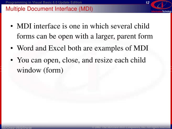 Multiple Document Interface (MDI)
