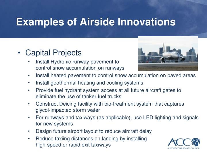 Examples of Airside Innovations
