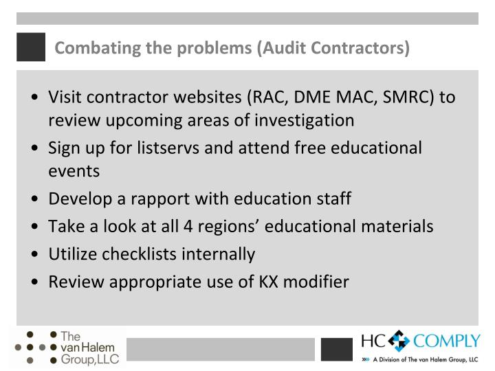 Combating the problems (Audit Contractors)