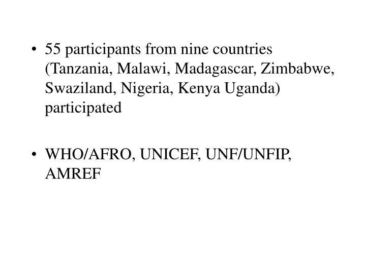 55 participants from nine countries (Tanzania, Malawi, Madagascar, Zimbabwe, Swaziland, Nigeria, Kenya Uganda) participated
