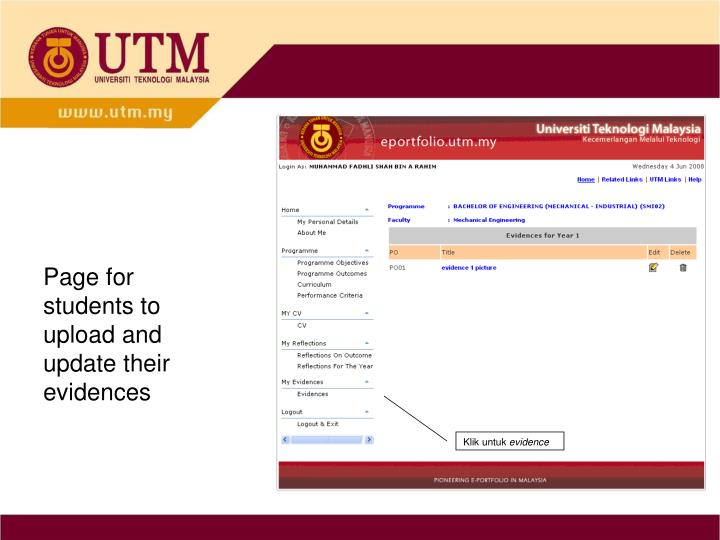 Page for students to upload and update their evidences
