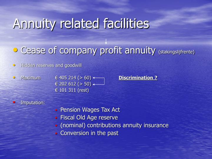 Annuity related facilities