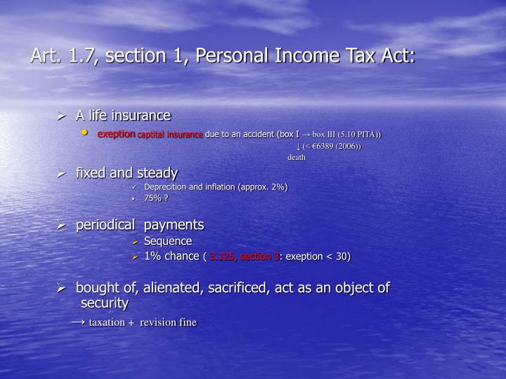 Art. 1.7, section 1, Personal Income Tax Act: