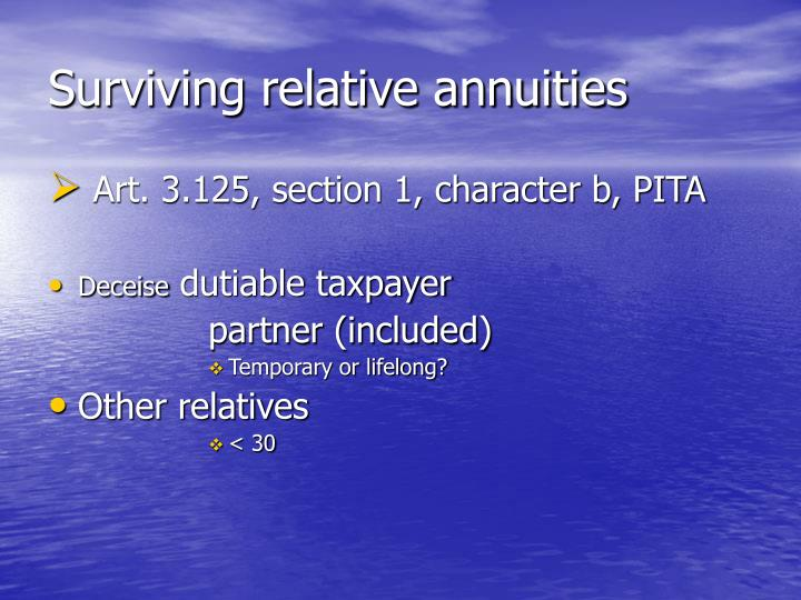 Surviving relative annuities