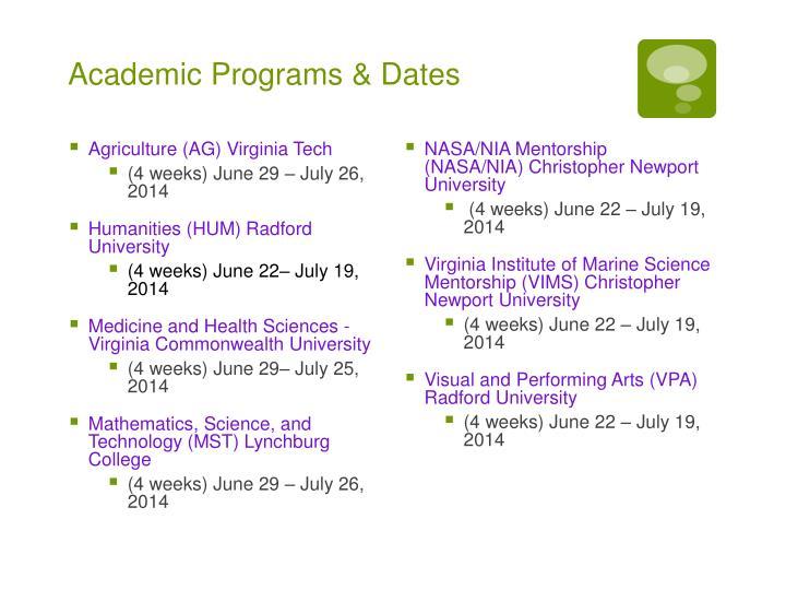 Academic Programs & Dates