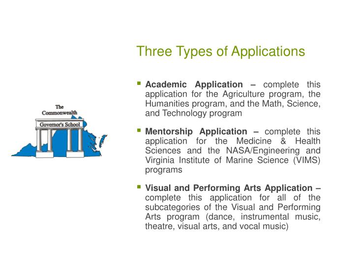Three Types of Applications
