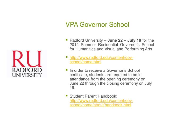 VPA Governor School