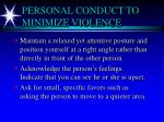 personal conduct to minimize violence1