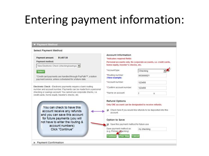 Entering payment information: