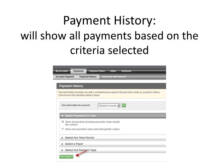 Payment History: