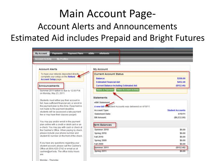 Main Account Page-