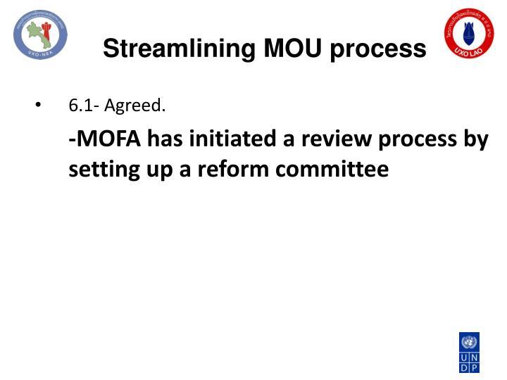 Streamlining MOU process