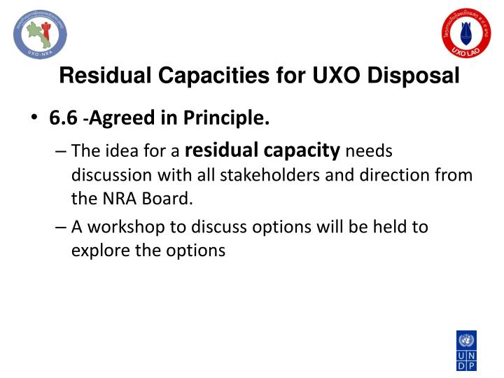 Residual Capacities for UXO Disposal