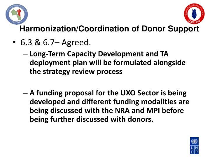 Harmonization/Coordination of Donor Support