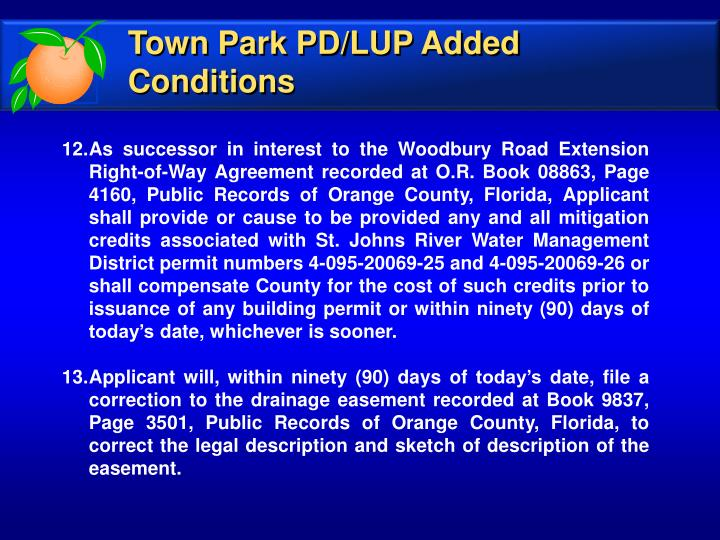Town Park PD/LUP Added Conditions